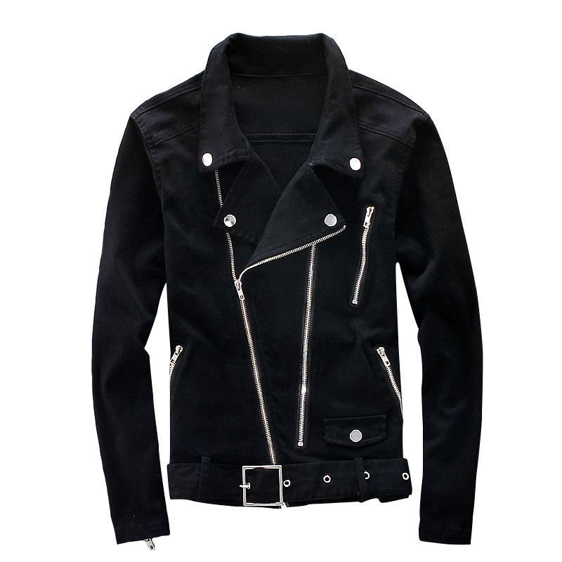 Aboorun Biker Denim Erkekler Çok Fermuar Kemer Kot Ceket Punk Slim Fit Streetwear Dış Giyim Erkek R2457