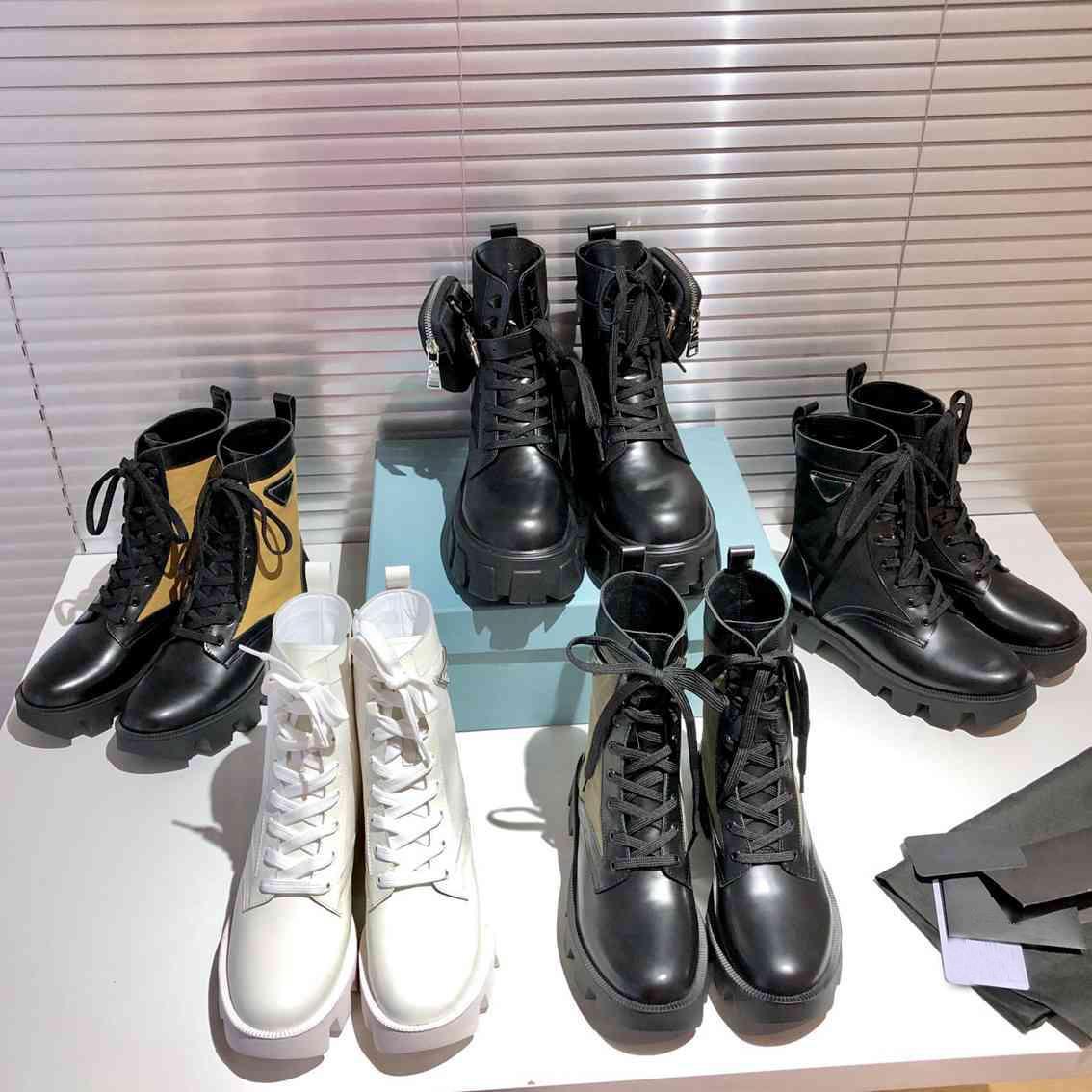 2021 Çok Yönlü Bahar Kadın Martin Çizmeler Hafif Dantel Yukarı Düşük Topuk Kısa Bootis Hakiki Deri Kadın Boot ile Kutusu