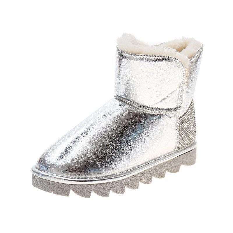 2021 The New Fashion Crystal Pelle Stivaletti Stivaletti per DONNA NON SLIDE HOT SLIDE BREVE Teddy Snowboots Donna Piattaforma Scarpe Dutaterproof Acqua H8BH