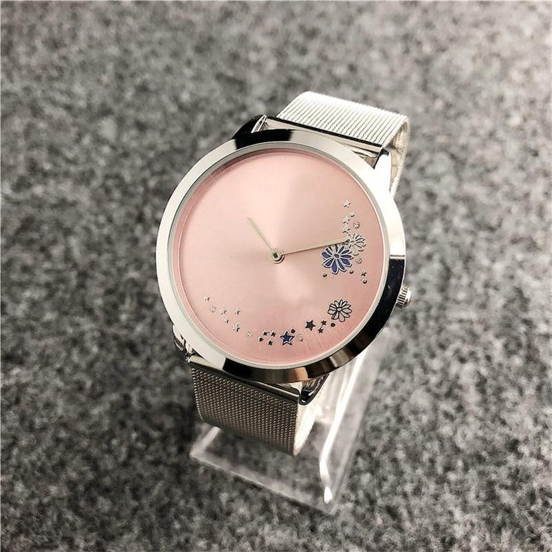 Elegante marchio Ultra sottile 40mm quadrante rosa semplice per le donne orologi orologio da donna orologio argento di lusso orologio orologio Reloj 201218
