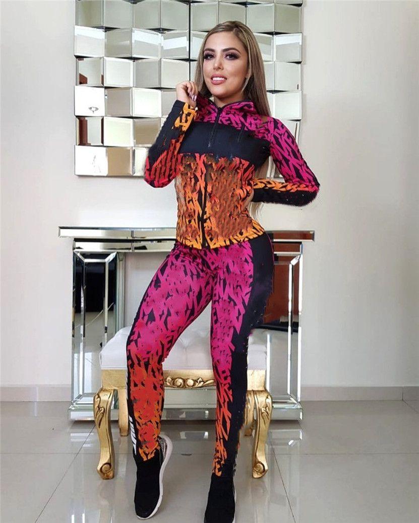 Outono inverno mulheres tracksuit manga comprida dois pedaço conjunto jaqueta + calças plus size 2xl roupas casual impressão sweatsuits sportswear 2758