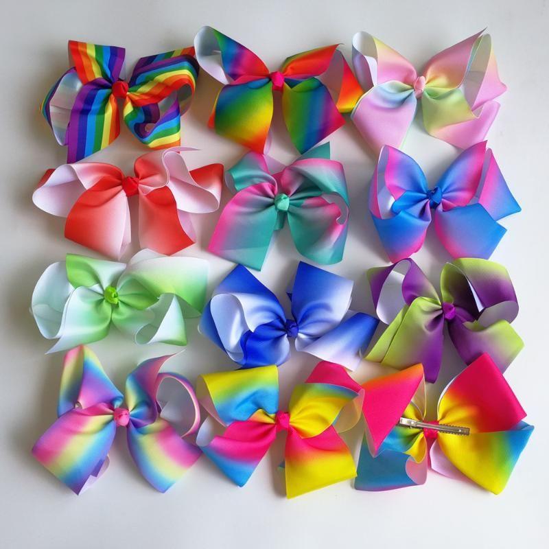 Аксессуары для волос Министерны 8 '' Grosgrain Ленты Луки Клипы Boutique Rainbows Лук Девушки Bairbow для подростков Подарок 120 шт. / Лот