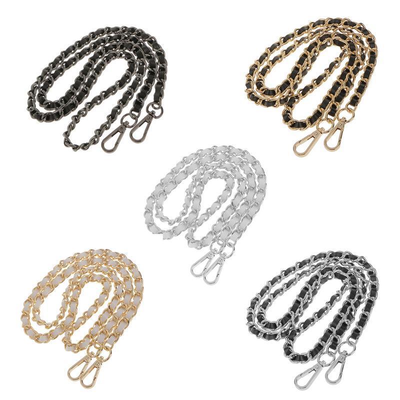 Métal + Sac à bandoulière en cuir Sac à bandoulière Bandoulière poignée sac à main Sac à main Chaîne Remplacement de la chaîne 120cm