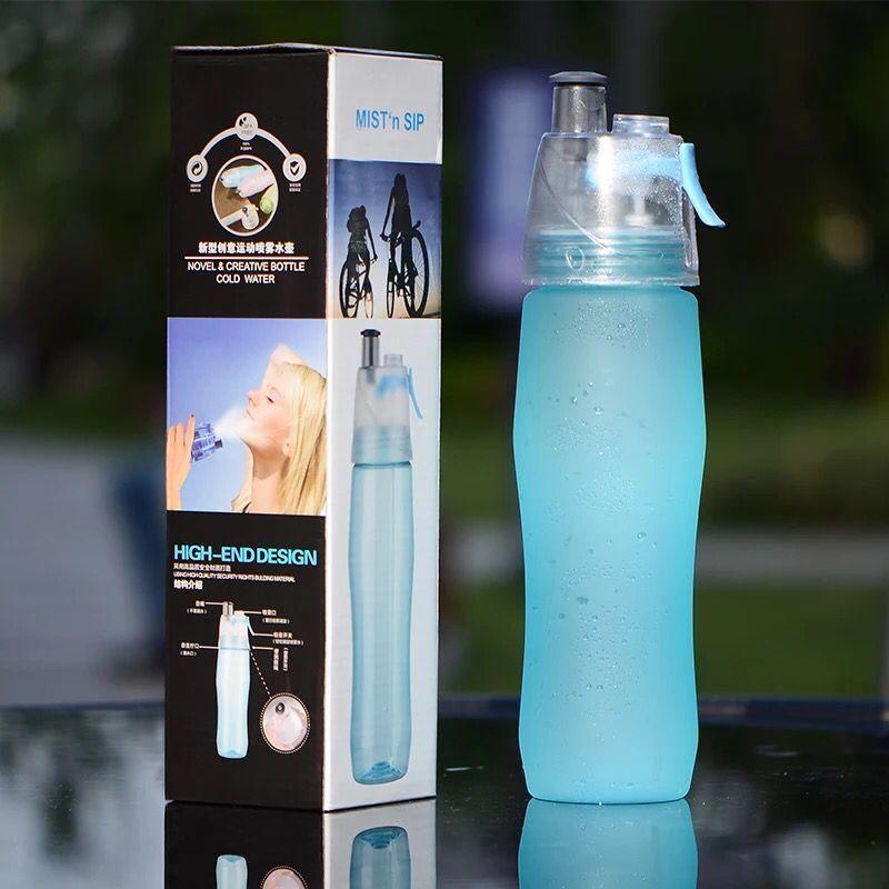 Spor Soğutma Sprey Su Şişesi 740ml 25oz Açık Kamp Seyahat Su Şişesi Plastik Buzlu Kupası Sızdırmaz Su Şişesi PPD3410