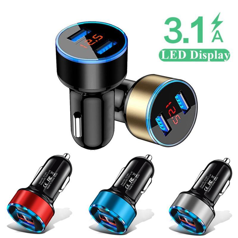 حار جديد 2in1 led عرض رقمي مزدوج USB شاحن سيارة عالمية لآيفون 12 11 سامسونج هواوي سيارة الهاتف المحمول محول شحن سريع