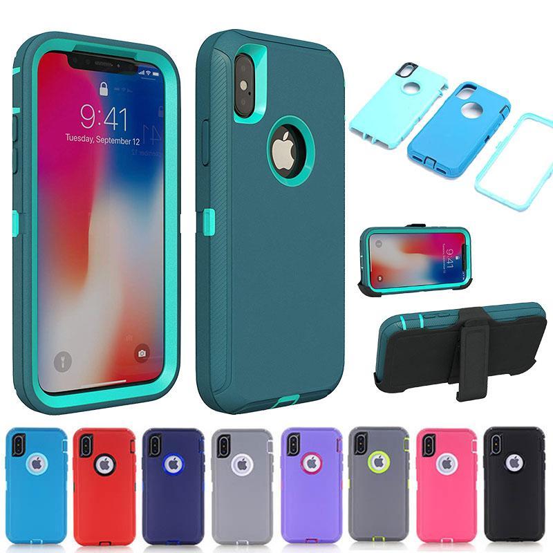 Caixa de telefone armadura para iphone x xs max xr 7 8 6 6s plus case 3 em 1 pc híbrido tpu toque à prova de choque capa para iphone 11 pro max