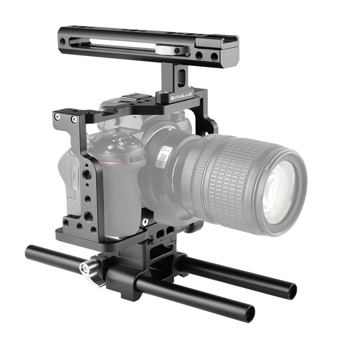 Fengling Puluz Video Cámara de video Estabilizador de jaula con barra de riel de mango para Nikon Z6 Z7