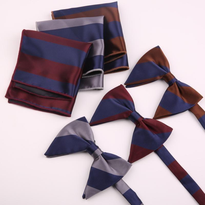Шея стяжки мужская большая бабочка носового платка для мужчин полосатый полиэстер бабочка галстук карманный квадрат подарок смокинг
