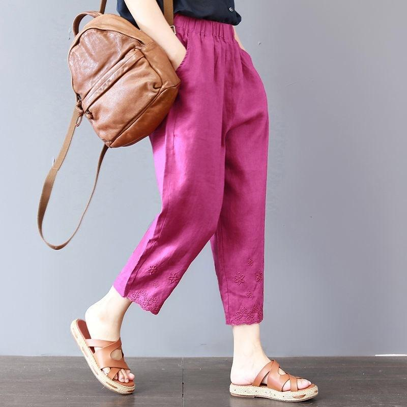 Nuevo sólido en primavera y verano de 2019 bordado de mujeres grandes camareros casuales sueltos harem pantalones
