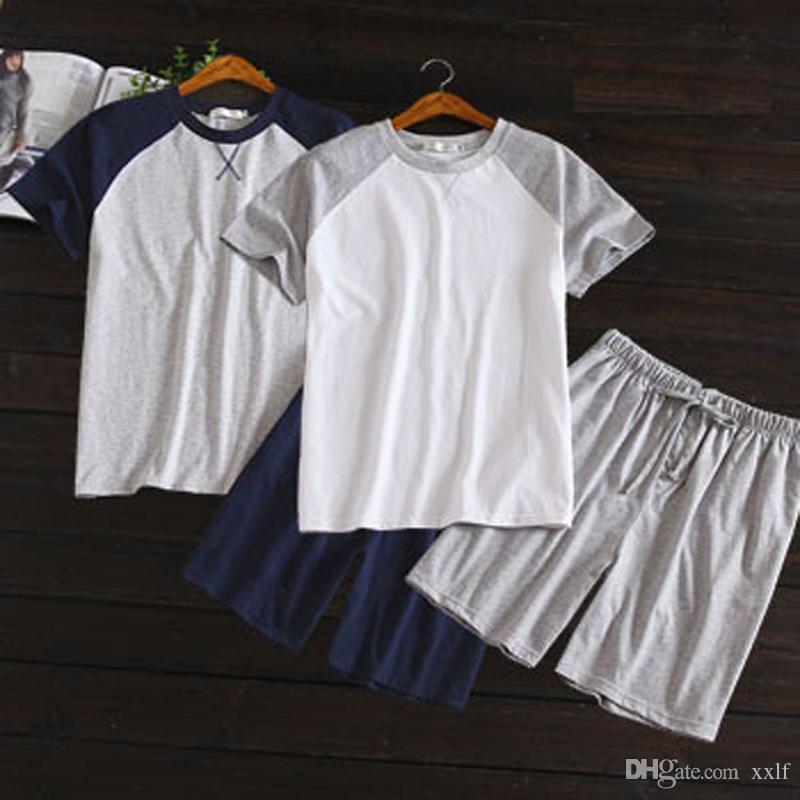 Sommer dünne stil 100% baumwolle männer kurzärmelige shorts homewear anzug koreanische farbe passende pyjamasanzug casual home kleidung