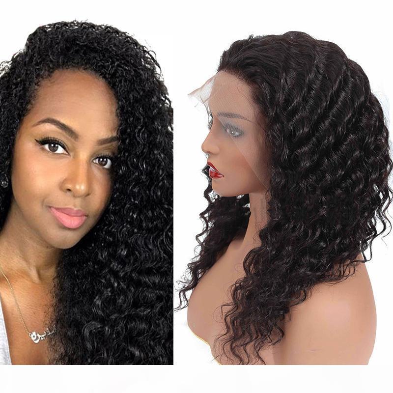 """Atacado cabelo humano lace dianteira perucas profundas onda reta cacelha curly 13 * 4 rendas peruca dianteira 8 """"-24"""" tomada de fábrica barato frete grátis"""