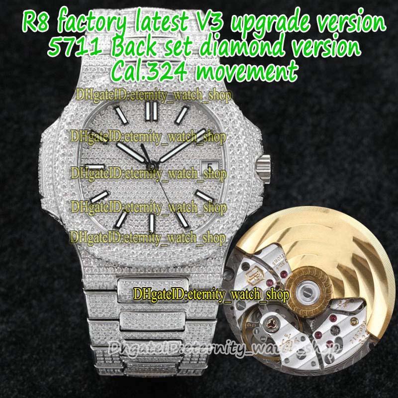 Eternity R8F V3 Upgrade-Versão Gelada Full Diamond Inlay Case Strap 5711 Diamonds-Dial Cal.324 S C Automático 5719 Mens Assista 5713 Esporte