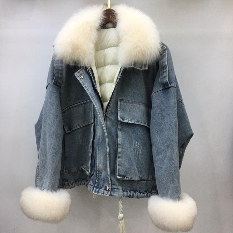 Cuello de piel de zorro real de 2 piezas de chaqueta de mezclilla de algodón de mezclilla con cremallera con cremallera con cremallera con cremallera con cremallera de invierno.