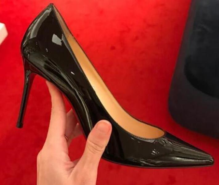 [صندوق الأصل] كلاسيكي نساء العلامة التجارية الأحمر أسفل الكعوب العالية براءات الاختراع والجلود مدبب تو اللباس الضحلة أحذية فاخرة الفم الأحمر الوحيد أحذية الزفاف