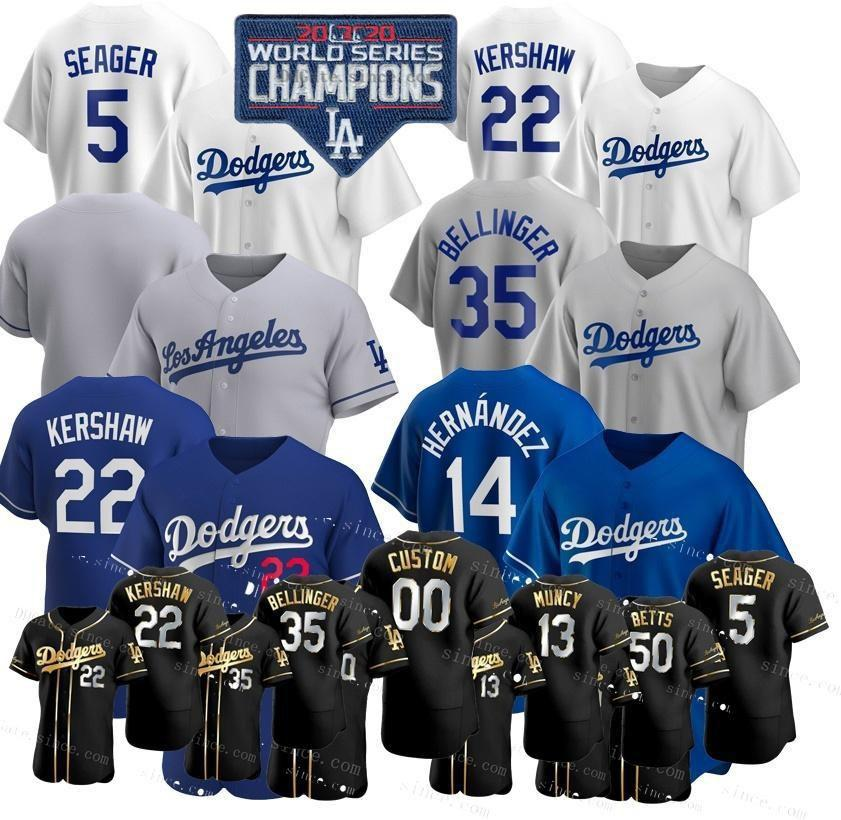 Custom 2020 WS Champions Corey Segarder Mookie Betts Dodgers Jerseys Cody Bellinger Clayton Kershaw Justin Turner Enrique Hernandez Piazza