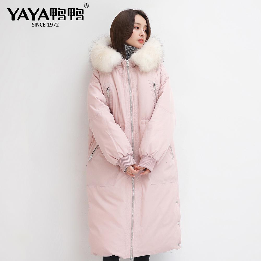 Women's Winter Nouveau Collier de fourrure de Yaya Véritable Courbe Réglable Réglable Down Jacket à capuche à capuchon chaud rose vert manteau noir