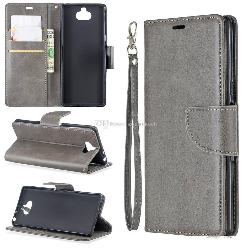 Für Sony Xperia10 xz1 kompakt XA1 plus Fall Flip-Stand-Brieftasche Leder-Fotorahmen-bunte Telefonabdeckung für Samsung