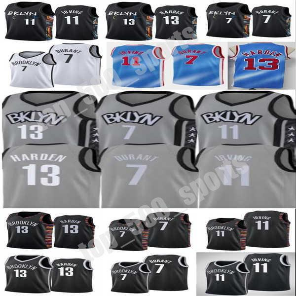 2021 New Kevin Kyrie 7 Durant Mens Jersey 11 Irving 13 City Harden 13 Basketball Jersey Basketball Blick White Blue