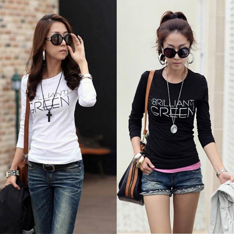 Женская футболка оптом - корейская осень Harajuku футболка женская экипаж шеи полиэстер тонкий футбол с длинным рукавом нижние топы тройки одежда PL