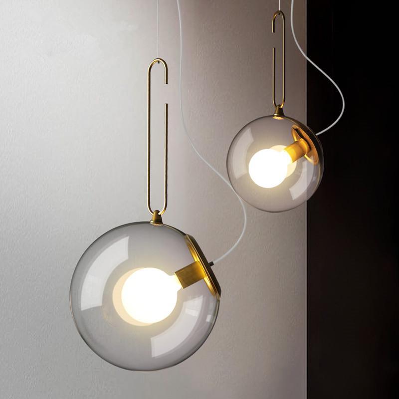 الزجاج الحديث الكرة قلادة الإضاءة تركيبات الذهبي المطبخ غرفة الطعام بار السرير شنقا مصابيح الإنارة تعليق أضواء