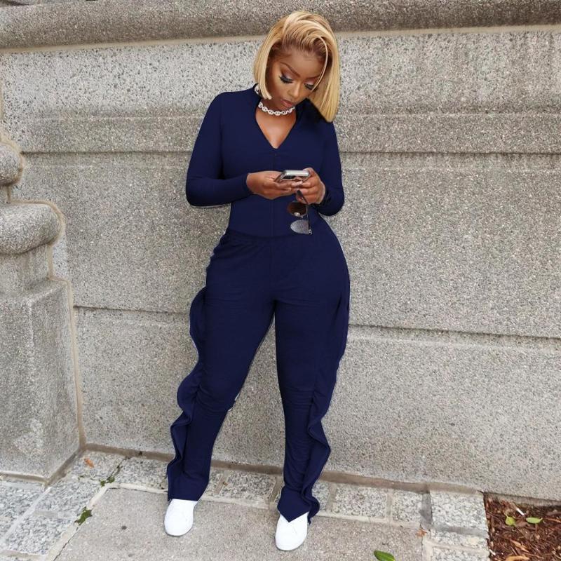 Mulheres moda cor sólida zipper manga comprida v-pescoço em v e pants de babados dois conjuntos de peças IV-8144