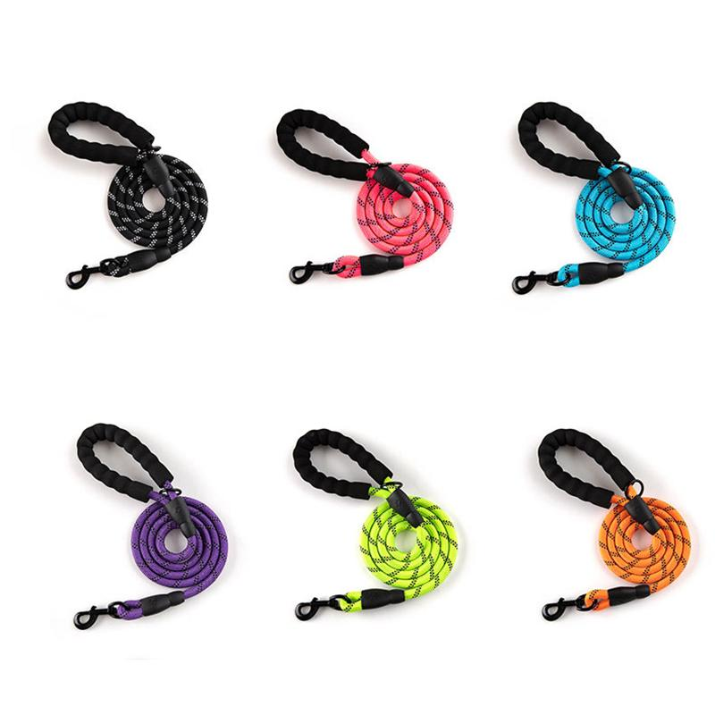 Correa de perro fuerte con asa acolchada cómoda Cuerda reflectante para pequeños perros medianos y grandes 5 FT JK2012XB