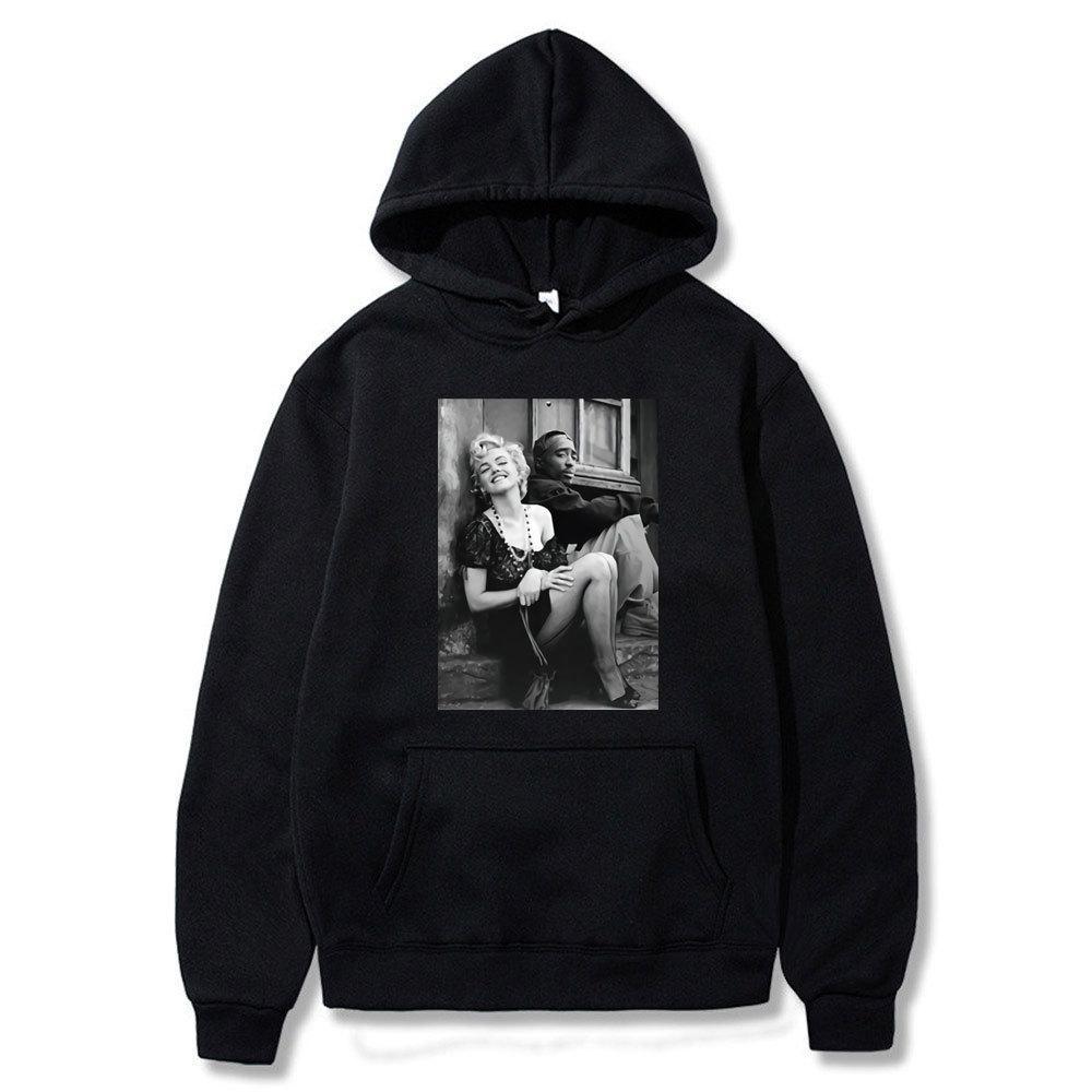 Tupac e marilyn monroe harajuku solta outono casaco de inverno hoodies homens mulheres pulôver fêmea feminino moda hoodie homens f1209