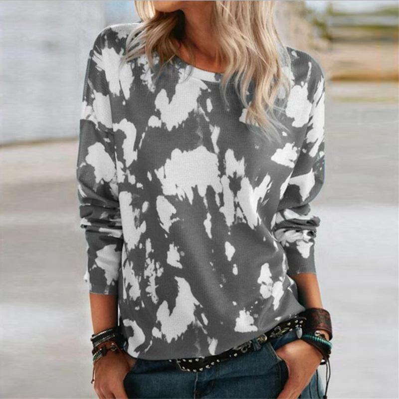 Mandylandy Artı Boyutu Gevşek Kadın Bahar Tişörtleri Gevşek Yuvarlak Boyun Kadın Gömlek Tops Moda Uzun Kollu Baskılı T-Shirt Tops