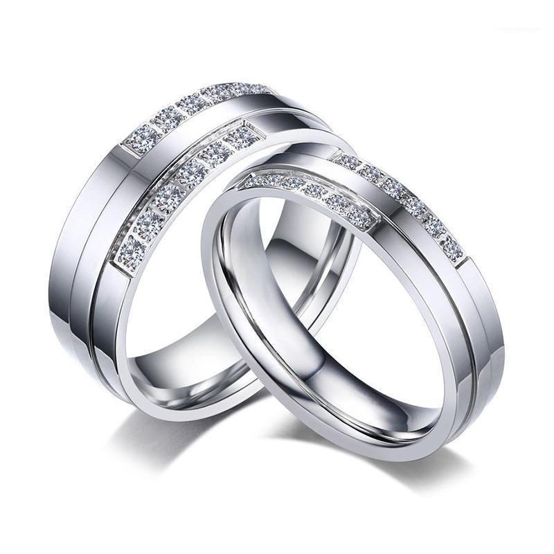 Wedding Rings for Women Men Fashion Silver Color CZ Stone Alliance Romantic Forever Love Promise Finger Ring Bijoux1