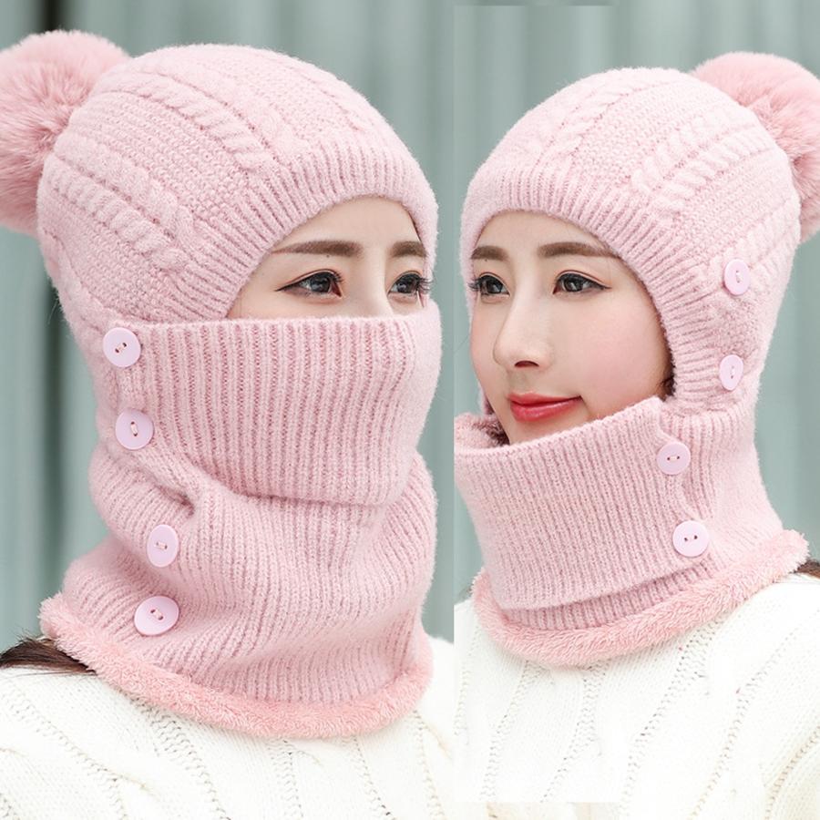 Mulheres de malha beanie patchwork cor moda espessa tampa de inverno ao ar livre windproof chapéu à prova de vento de dois pedaços conjunto DDA804