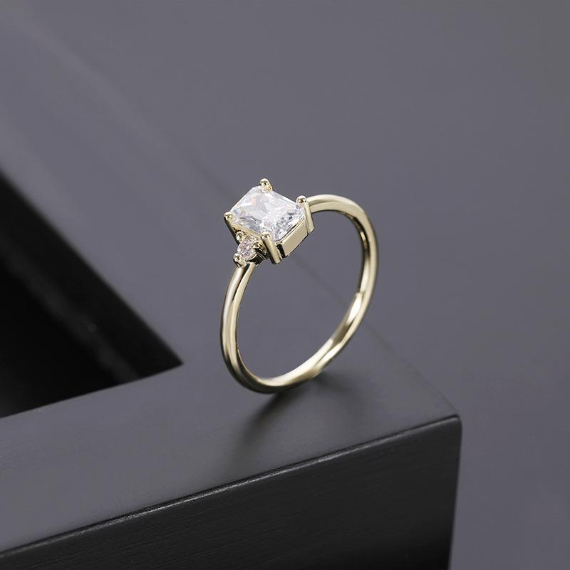 Fashion personality alternative design micro-inlaid zircon 14K gold ring ladies accessories couple rings ladies gifts jewelry free shipping