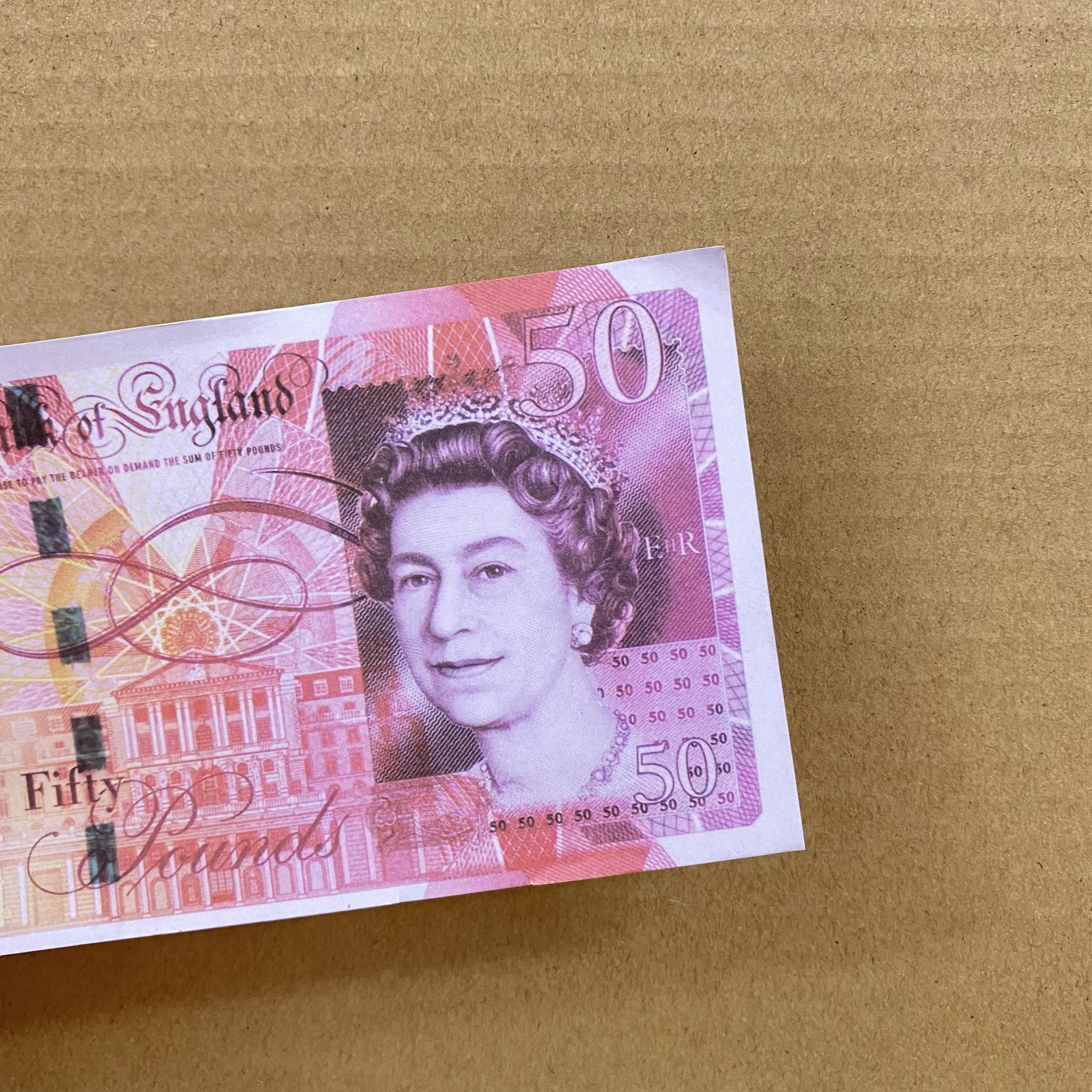 Simulación de venta caliente 50 libras Fake Money Film and Television Shooting Shooting Practice Banknote Bar juego Token