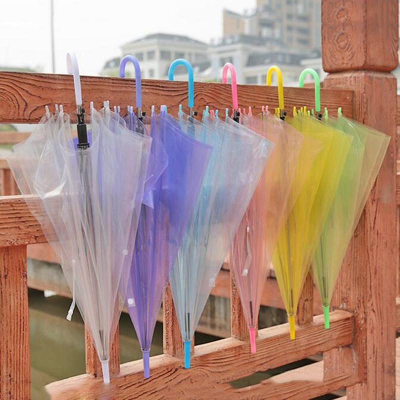 مقبض طويل دليل شفاف مظلات لون الحلوى حماية البيئة في الهواء الطلق الفطر مظلة مختلط الألوان هدية اللوازم