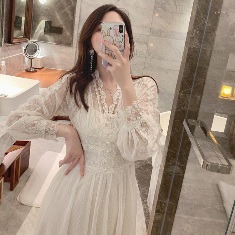2020 Brand New Women Lace Dress V-Collo V-Neck French Retro Style Manica Lunga Elegante Midi Dress di alta qualità Party Vestidos1