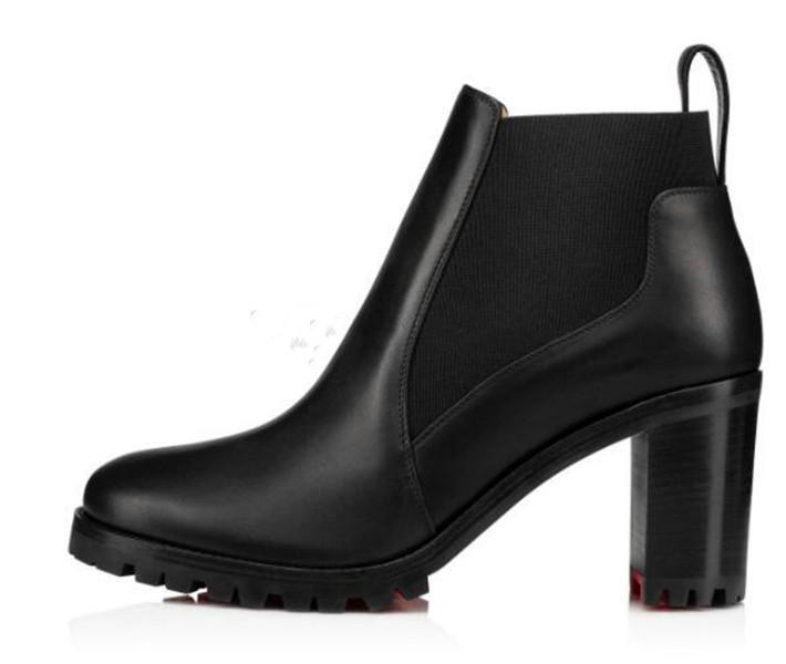 Sıcak Satış Moda Güz Kadın Çizmeler Lüks Kırmızı Alt Ayak Bileği Çizmeler Pabucu Taban Marchacroche Için Tıknaz Topuklu Bayan Patik Açık Parti Düğün