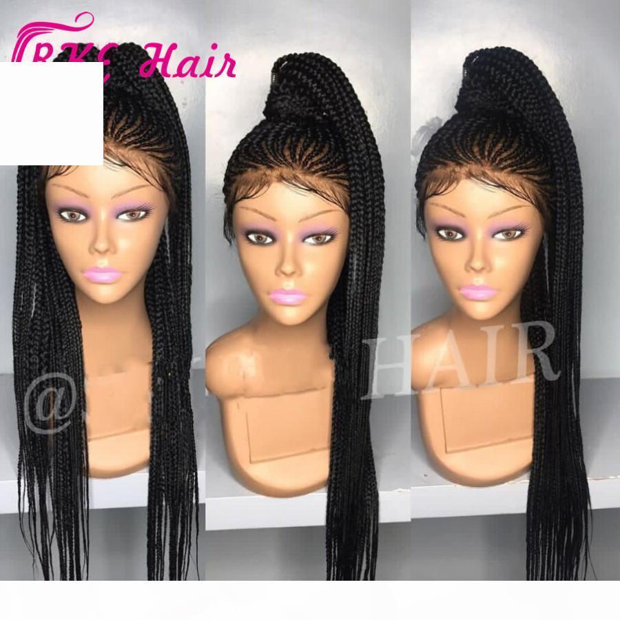 2019 New Cornrow Braid Perruque Boîte Full Box Tresses Cheveux Synthétique Dentelle Dentelle Avant Perruques longues Noir Brun foncé Bourgogne Blonde Blonde Perruques Afro-américaines