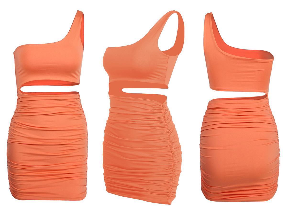 Женская мода Dresssingle плеча сексуальный ночной клуб мешок бедер платье цвета 5 ярдов3blpdddnik