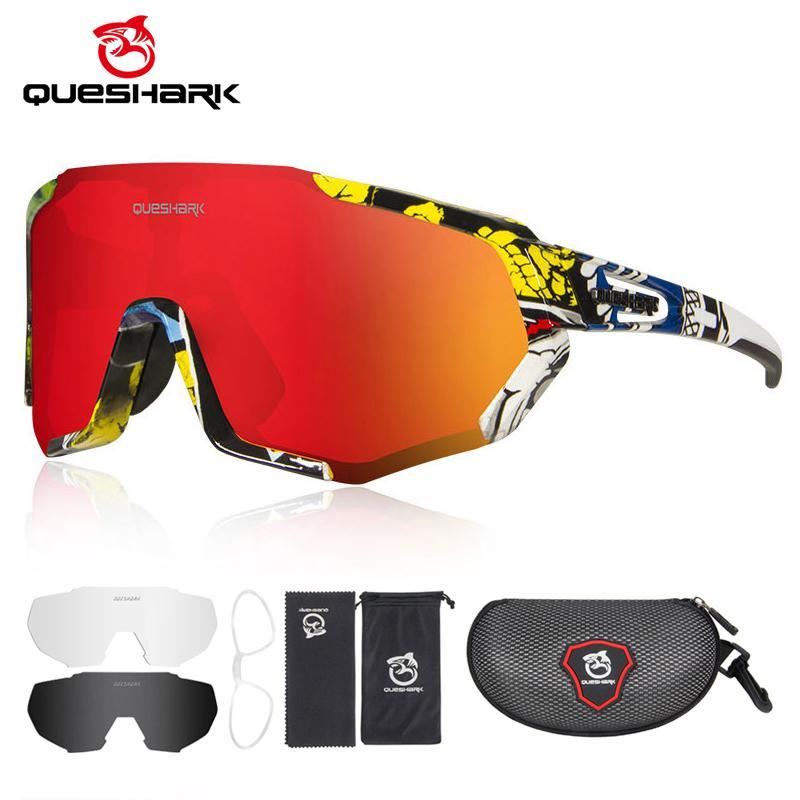 Queshak 2020 Nouveaux verres polarisés pour homme Femmes Vélo Lunettes de soleil Vélo Lunettes de soleil 3 lentilles Mirectrice UV400 Goggles MTB QE48