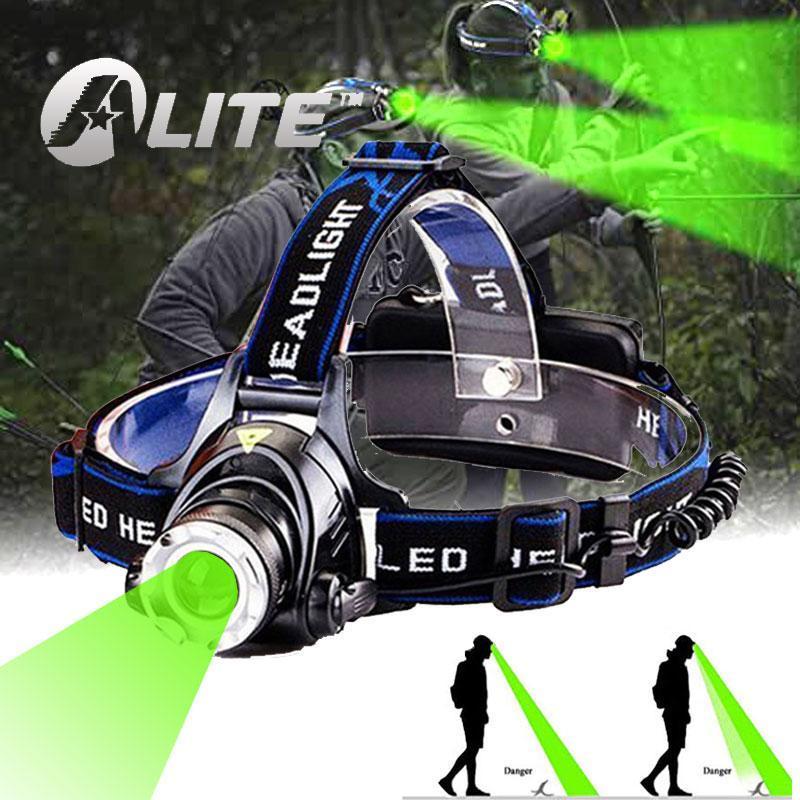 Мощные 10 Вт T6 светодиодные фары 18650 LANTERNA белый или зеленый луча охотничьи фары для ночных рыболовных фар