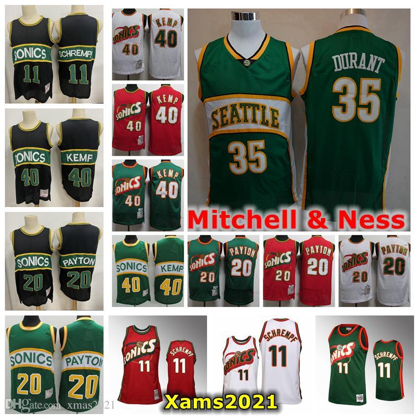 Retro Mens Seattle 1995-96 Mitchell Ness Swingman Jersey 35 Kevin Durant 40 Shawn Kemp 20 Gary Payton 11 Detlef Schrempf Basketball Jersey
