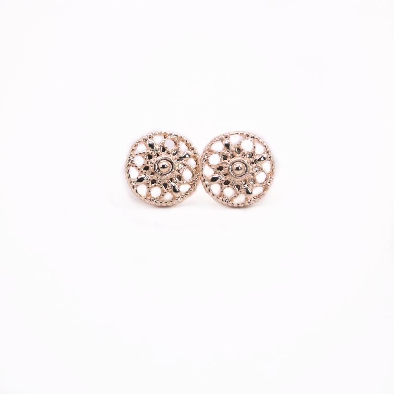 New Fashion Round Flowers Stud Earring Gold White Rose Three Color Optional For Women wholesale free shipping