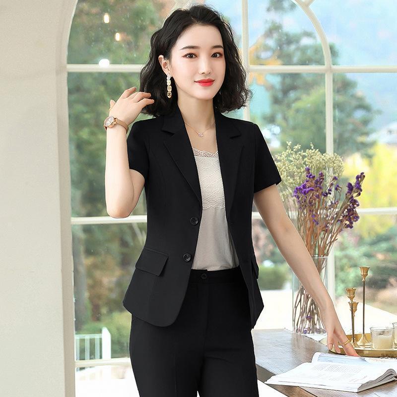 Pantalones de traje de mujer elegante verano 2020 Slim-Fit-Fit Mangas cortas Blazer Casual Falda corta de alta gama Oficina Formal Traje1