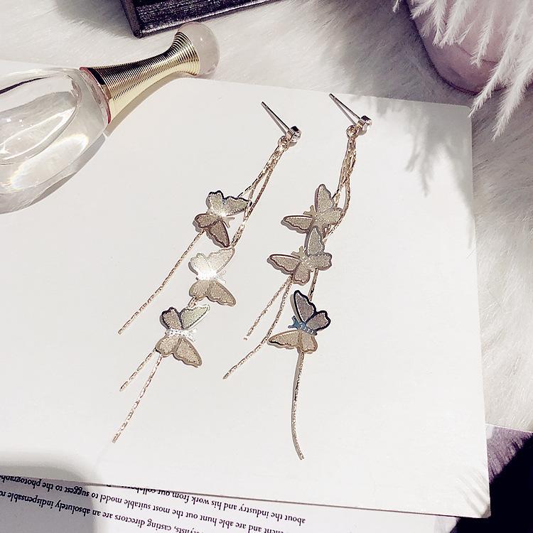 Charme jóias agulha de prata excede a Deusa imortal gás longo dinheiro borla orelha gota coreano temperamento Coringa mostra rosto provado