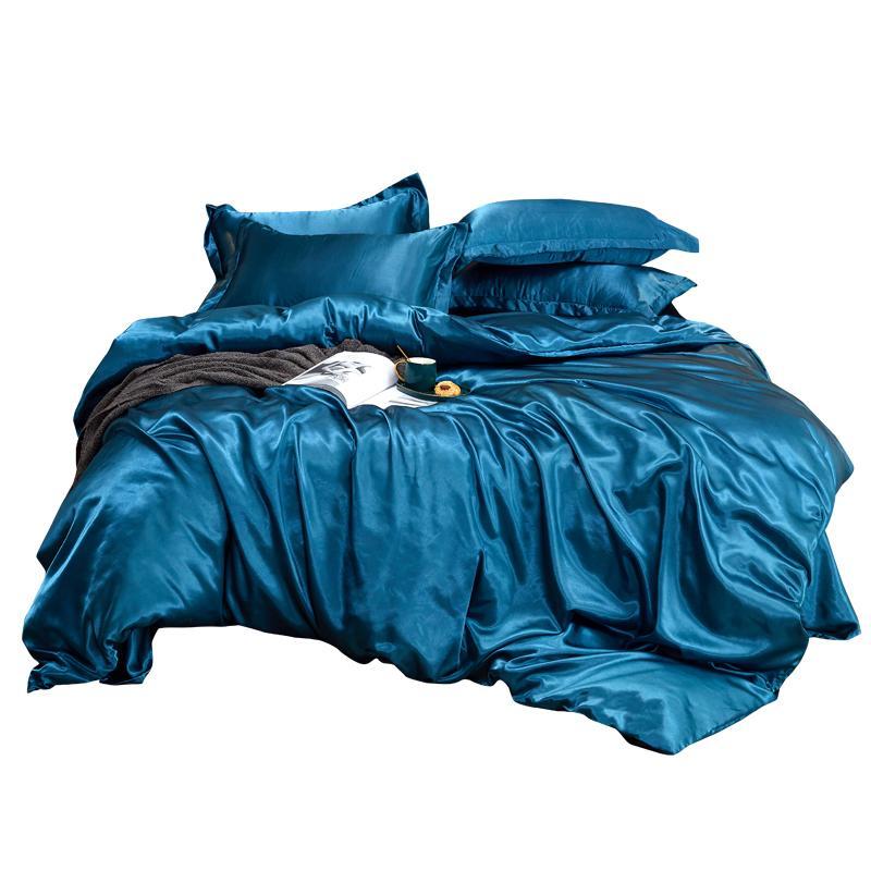 Home Textile-Bettwäsche-Set mit Bettbezug Bett-Bett-Kissenbezug Luxus-König-Königin Twin Size Sommer coolen Quilt 201127
