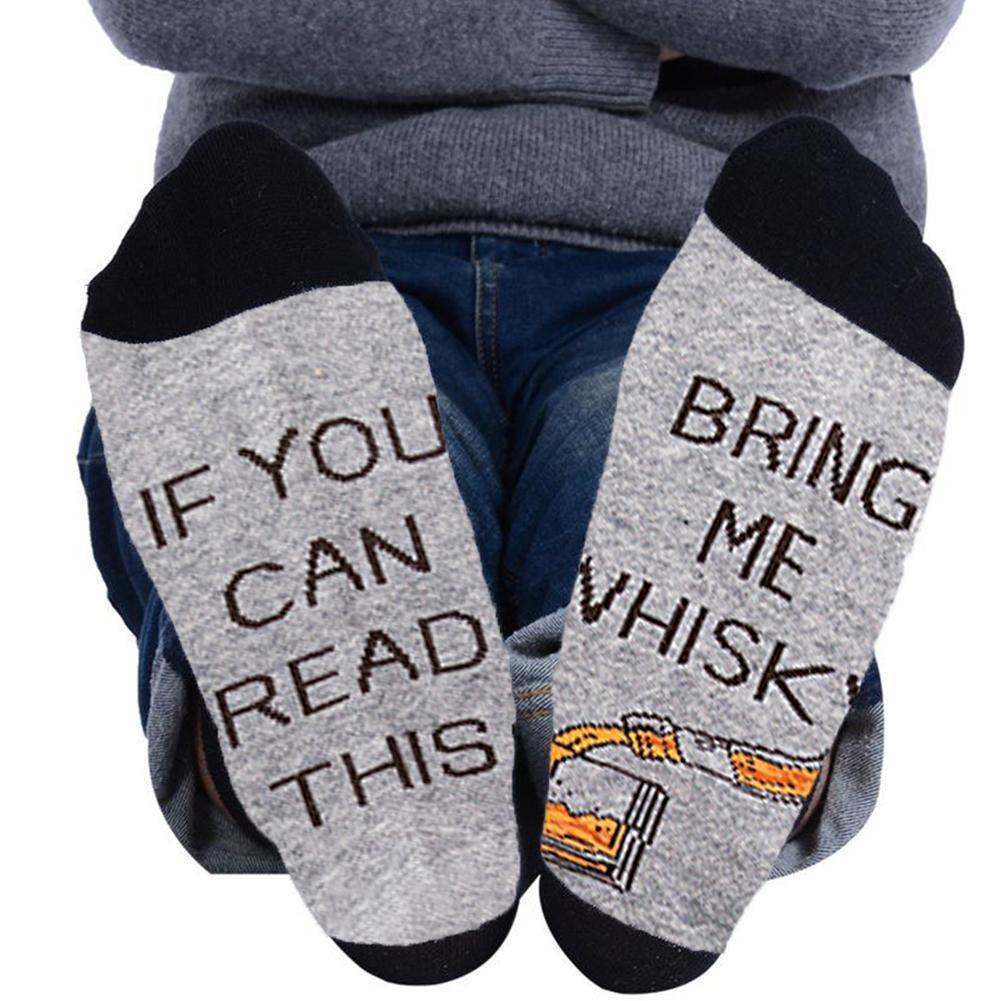 Мужские зимние теплые сгущает хлопок печати буква, если это забавно, что вы слова подарки юмора Хэллоуин носки читают рождество H2V6