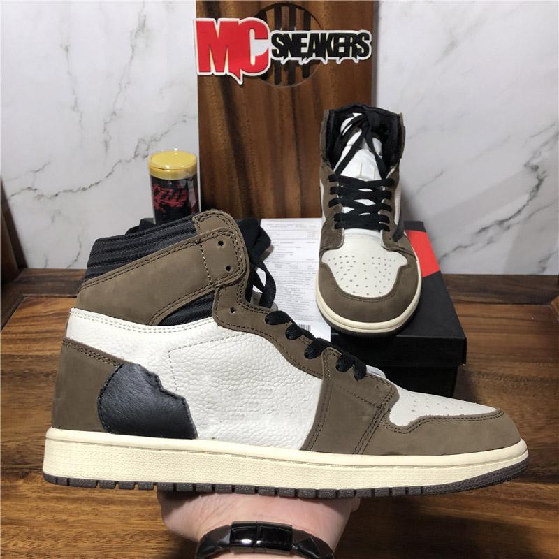 Высокое качество Jumpman 1 1S High Travis Scotts Бесстрашные обсидианы UNC Мужские Женщины Баскетбольные Обувь запрещены Обувь Chicago Men Sports