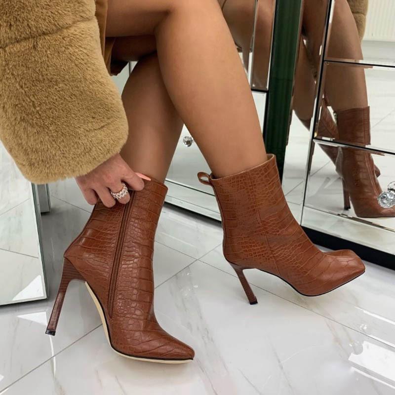 Winterstiefel Dame Schuhe Stiefel-Frauen Runde Kappe 2020 High Heel Herbst Mid-Calf Niedriger Gummi Große Größe Mitte Kalb Slip-on Rom