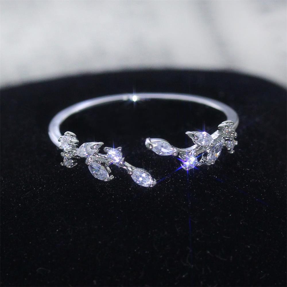 Женские кольца посеребренные листья в форме открытого кубического циркония кольцо мода обаяние кольца для женщин подарок для подруги