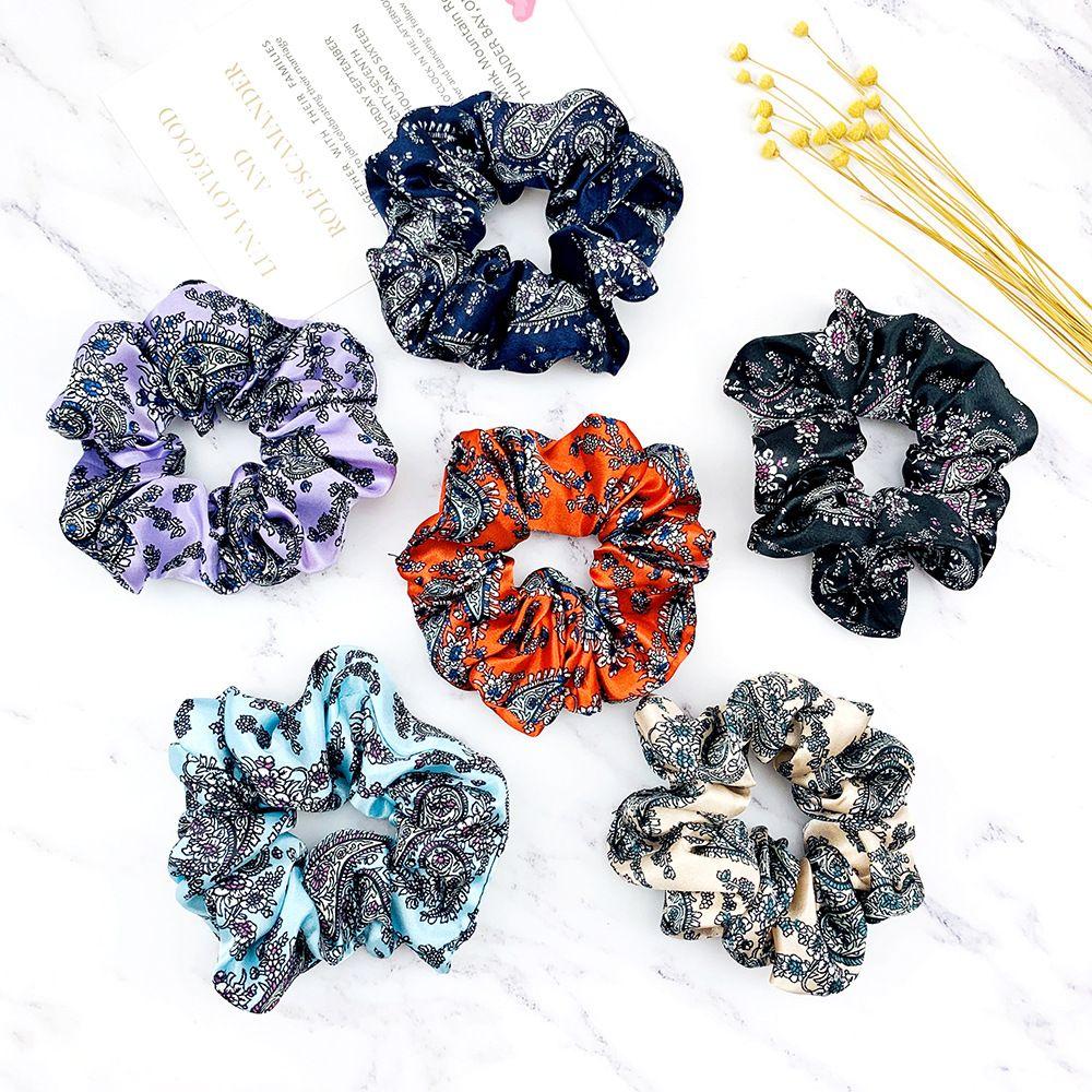 Estilos Nacionales Satin Hair Scrunchs Simple Pein Pein Lazs para la impresión de la planta de la planta Poty Tails Titulares