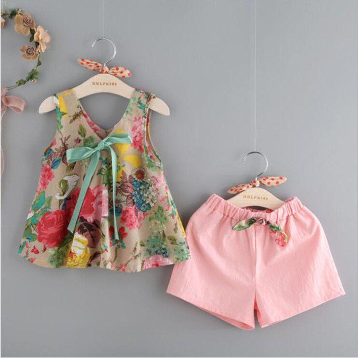 Roupas de bebê meninas colete de tanque floral tops shorts roupas conjunto de roupas menina crianças terno crianças verão boutique roupas yhm742